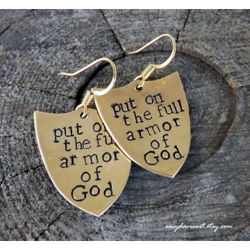 Full Armor Of God Earrings with Brass Shields (Ephesians 6)