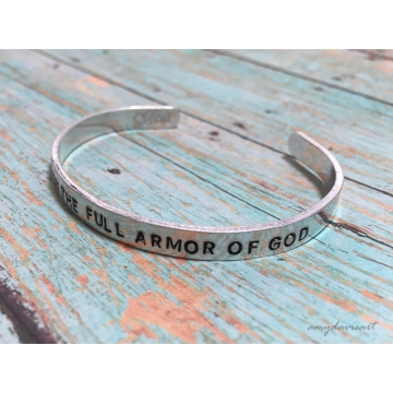 Put on the Full Armor of God Cuff Bracelet, Ephesians 6 Hand Stamped Christian Jewelry