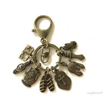 Armor of God Purse Charm and Christian Keychain (Ephesians 6 Bible Keychain)