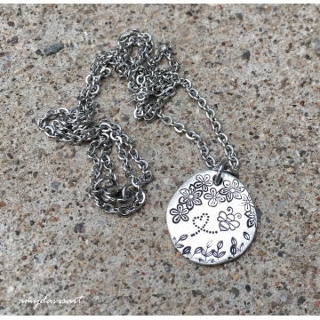 Bee necklace with flowers (Hand Stamped Jewelry)