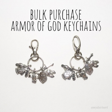Armor of God key chains in bulk purchase for small groups, adult Bible studies, Christmas gifts, retreat events, and more ~ Ephesians 6 Bible Verse Christian Keychains