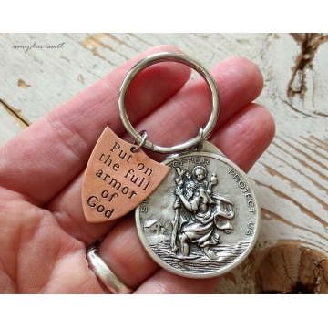 St Christopher Keychain with Ephesians 6 Put On The Full Armor Of God Hand Stamped Shield (Christian Keychain)