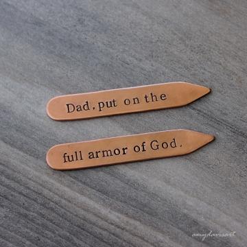 Put on the Full Armor Of God Copper Collar Stays ~ Christian Gift for Men ~ Ephesians 6 Scripture Gift