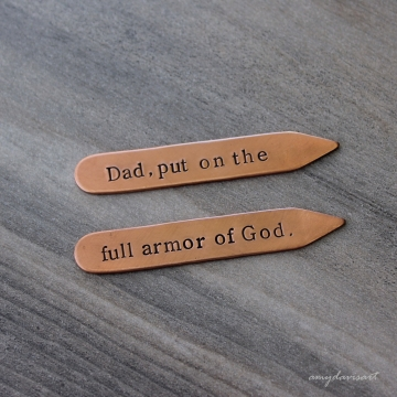 Put on the Full Armor Of God Copper Collar Stays ~ Christian Gift for Men ~ Ephesians 6 Scripture Gift