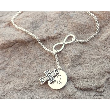 Infinity Lariat Necklace with Cross Charm, Personalized Christian Jewelry