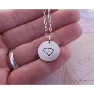 Sterling Silver Hand Stamped State Necklace