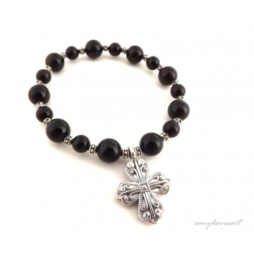 SOLD OUT Black Beaded Bracelet with Silver Cross for Women (Christian Jewelry)
