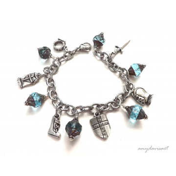 Put on the Full Armor of God Bracelet with Teal Czech Glass Bicone Beads (16.08)