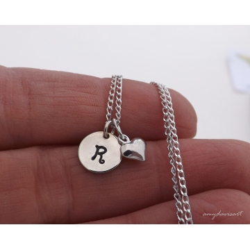 Dainty initial charm necklace with cross, heart or ichthus charm choice (Handstamped Christian Jewelry)