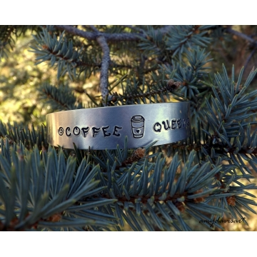 Coffee Queen Handstamped Cuff Bracelet ~ Great Gift For Your Favorite Coffee Lover!