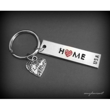 USA Hand Stamped Keychain (Patriotic Gift)