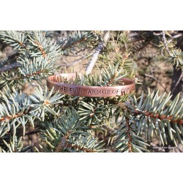 Armor of God Hand Stamped Copper Cuff Bracelet (Ephesians 6 Christian Jewelry)