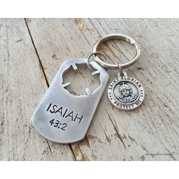 Firefighter Keychain with St Florian Medal, Maltese Cross (Isaiah 43:2)