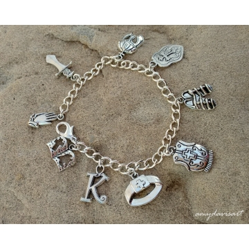 Personalized Armor of God Charm Bracelet (comes with initial charm of your choice)