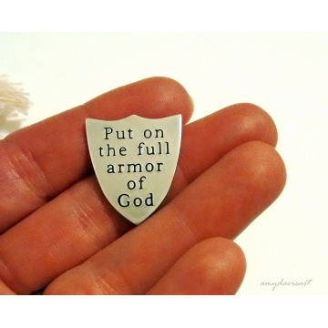 Put on the Full Armor Of God Religious Pocket Token in Sterling Silver (Ephesians 6 Bible Verse)