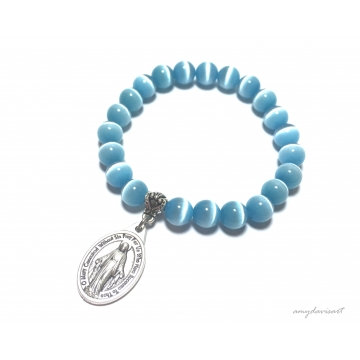 Miraculous Medal Bracelet with Turquoise Blue Cat's Eye Beads (Catholic Jewelry for Her)