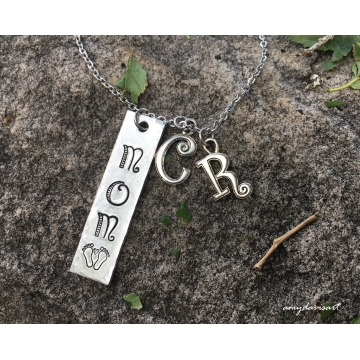 Mom necklace personalized with initial charms (gift for new mom)