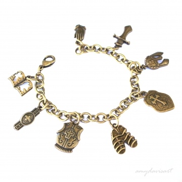 Put on the Full Armor of God Christian Charm Bracelet (Bronze Tone)