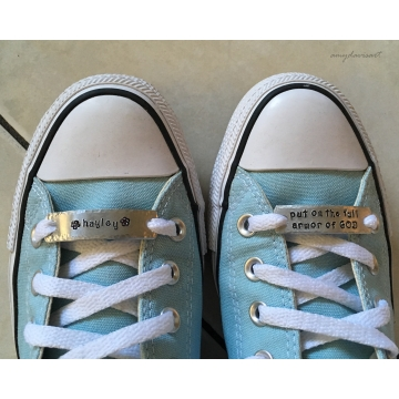 Put on the Full Armor of God Custom Shoelace Tags (shoe tags for runners, athletes, laced shoes)