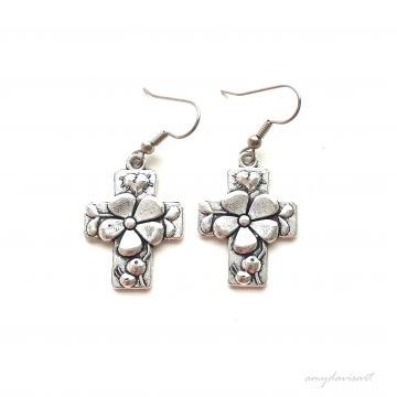 Silver Cross Earrings with Flower ~ Hail Mary Ave Maria ~ Catholic Jewelry ~ Comes with Hail Mary Prayer Card in English or Spanish