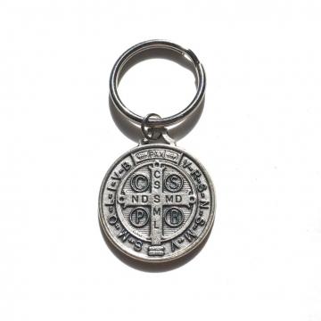 St Benedict Keychain, Catholic keychain with large Saint Benedict Medal