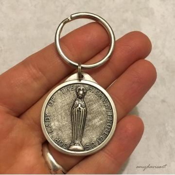 St Christopher Keychain with Saint Christopher / Our Lady of the Highway Medal