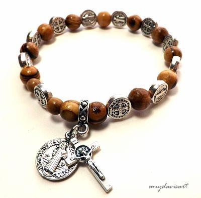 St Benedict Olive Wood Rosary Bracelet Catholic Jewelry