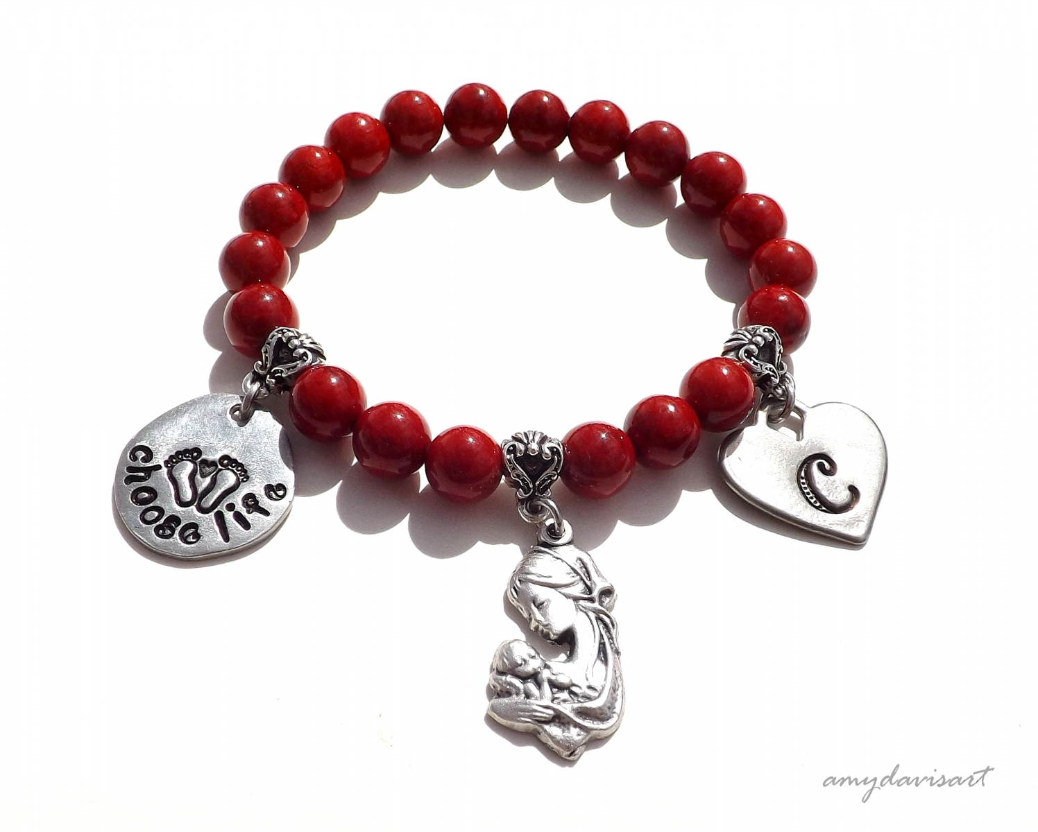 Choose Life Christian Bracelet, Personalized Initial Bracelet